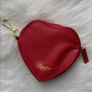 Red leather Buxton heart-shaped keychain